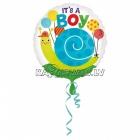 Folijas balons bērna piedzimšanai Gliemezis, puikām, 45cm, piepūšana ar hēliju ietilpst cenā