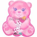 Шар из фольги на рождение девочки Медвежонок, 38х40см, наполнение гелием входит в цену