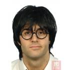 Комплект студента -парик, чёрный, короткий, синтетика и очки, чёрные без стекла
