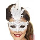 Venēcijas stila mirdzoša maska, sudraba, ar baltām spalvām