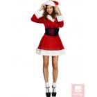 Ziemassvētku tērps, sarkans ar baltu - kleita ar kapuci un josta