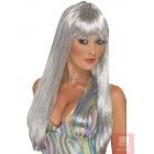 Блестящий диско парик, серебряный, длинный, прямой, с чёлкой, синтетика
