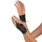 Кружевные перчатки, без пальцев, чёрные, короткие