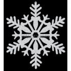 Блестящая снежинка, диам. 28см. Пластик, покрытый серебряными блестками с двух сторон.