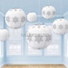 Снежинки - комплект бумажных подвесок диаметром 21см./25см./30см. с рисунком по поверхности, упаковка 6шт.
