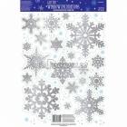 Комплект снежинок для украшения окна, серебряный, с блестками. В комплекте 19 снежинок диам. 5 - 15см