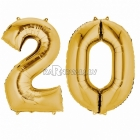 "26""/66cm x 34""/86cm Skaitlis 20 Folija balons Super figure zelta"