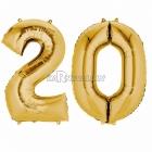 """Шар цифра """"20"""", 66 х 86см, комплект - 2 шара из фольги золотого цвета"""