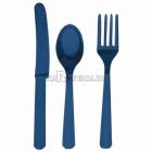 Столовые приборы из пластика - вилки, ножи, ложки - комплект на 8 человек, 24 шт., цвет - тёмно-синий