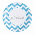 Тарелки бумажные с рисунком ЗИГЗАГ, цвет - карибский голубой, 33 см, 8 шт.