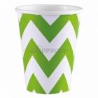 Стаканы  бумажные с рисунком ЗИГЗАГ, цвет - зеленый киви, 256мл, 8 шт.