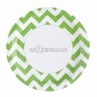 Тарелки бумажные с рисунком ЗИГЗАГ, цвет - зеленый киви, 33 см, 8 шт.