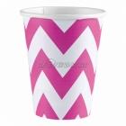 Стаканы бумажные с рисунком ЗИГЗАГ,цвет - ярко-розовый, 256мл, 8 шт.