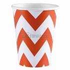 Стаканы бумажные с рисунком ЗИГЗАГ, цвет - оранжевый, 256мл, 8 шт.