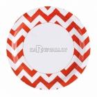 Тарелки  бумажные с рисунком ЗИГЗАГ, цвет - оранжевый, 33 см, 8 шт.