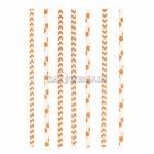 Трубочки коктейльные, оранжевые, в горошек/зигзаг, из плотной бумаги, 20см, 24 шт.
