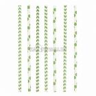 Kokteiļa papīra salmiņi, kivi, ar punktiņu un līkloču | zigzag rakstu, 20cm,24 gab.