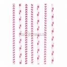 Трубочки коктейльные, розовые, в горошек/зигзаг, из плотной бумаги, 20см,24 шт.