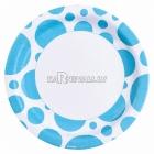 Тарелки бумажные с рисунком ТОЧКИ, цвет - карибский голубой, 33 см, 8 шт.