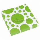 Салфетки бумажные с рисунком ТОЧКИ, цвет - зеленый киви, 33х33см 20 шт.