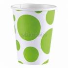 Стаканы бумажные с рисунком ТОЧКИ, цвет - зеленый киви, 256мл, 8 шт.