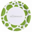 Тарелки бумажные с рисунком ТОЧКИ, цвет - зеленый киви, 33 см, 8 шт.
