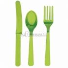 Столовые приборы из пластика - вилки, ножи, ложки - комплект на 8 человек, 24 шт., цвет - зеленый киви