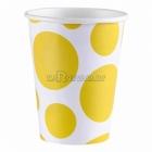 Салфетки бумажные с рисунком ТОЧКИ, цвет - Желтый, 33х33см, 20 шт.