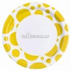 Тарелки  бумажные с рисунком ТОЧКИ, цвет - Желтый, 33 см, 8 шт.