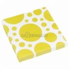 Салфетки бумажные с рисунком ТОЧКИ, цвет - Желтый, 33х33см 20 шт.