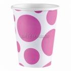 Стаканы  бумажные с рисунком ТОЧКИ, цвет - Ярко-розовый, 256мл, 8 шт.