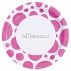 Тарелки  бумажные с рисунком ТОЧКИ, цвет - Ярко-розовый, 33 см, 8 шт.