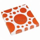 Салфетки бумажные с рисунком ТОЧКИ, цвет - Оранжевый, 33х33см 20 шт.