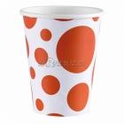 Стаканы  бумажные  с рисунком ТОЧКИ, цвет - Оранжевый, 256мл, 8 шт.