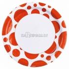 Тарелки  бумажные с рисунком ТОЧКИ, цвет - Оранжевый, 33 см, 8 шт.