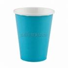 Стаканы  бумажные, цвет - карибский голубой,  256мл, 8 шт.