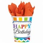 Стаканы  бумажные, День рождения,  256мл, 8 шт.