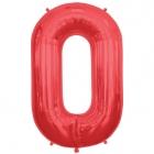 """Burtu balons sarkanās krāsā  """"O"""",  87cm, folijas figūra paredzēta piepūšanai ar hēliju"""