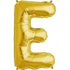 """Burtu balons zelta krāsā  """"E"""",  87cm, folijas figūra paredzēta piepūšanai ar hēliju"""
