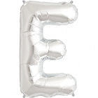 """Шар буква """"E"""", 87cм, фигура из фольги серебряного цвета заполняется гелием"""