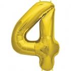 """Шар цифра """"4"""", 87cм, фигура из фольги  золотого цвета заполняется гелием"""
