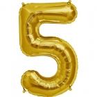 """Ciparu folijas balons zelta krāsā """"5"""",  87cm, folijas figūra paredzēta piepūšanai ar hēliju"""