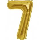"""Ciparu folijas balons zelta krāsā  """"7"""",  87cm, folijas figūra paredzēta piepūšanai ar hēliju"""