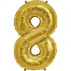 """Ciparu folijas balons zelta krāsā  """"8"""",  87cm, folijas figūra paredzēta piepūšanai ar hēliju"""