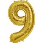 """Ciparu folijas balons zelta krāsā  """"9"""",  87cm, folijas figūra paredzēta piepūšanai ar hēliju"""