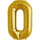 """Ciparu folijas balons zelta krāsā  """"0"""",  87cm, folijas figūra paredzēta piepūšanai ar hēliju"""