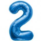 """Ciparu folijas balons zila krāsa """"2"""",  87cm, folijas figūra paredzēta piepūšanai ar hēliju"""