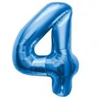 """Ciparu folijas balons zila krāsa """"4"""",  87cm, folijas figūra paredzēta piepūšanai ar hēliju"""