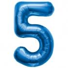 """Ciparu folijas balons zila krāsa """"5"""",  87cm, folijas figūra paredzēta piepūšanai ar hēliju"""