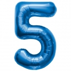 """Шар цифра """"5"""", 87cм, фигура из фольги  синего цвета заполняется гелием"""